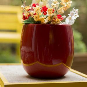 Vaso Cerâmico Esmaltado 2696VM Redondo Vermelho 20x20x20cm
