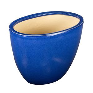 Vaso Cerâmico Esmaltado Oval Azul 30x19x25cm