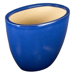 Vaso Cerâmico Esmaltado Oval Azul 37x26x30cm