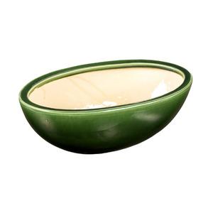 Vaso Cerâmico Esmaltado Oval Verde 30x15x10cm