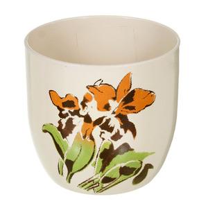 Vaso de Cerâmica Decorado Redondo Bege 4x14x13cm