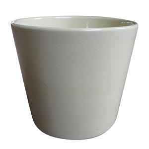 Vaso de Cerâmica Liso Spa Redondo Bege 13x13x11,50cm