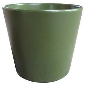 Vaso de Cerâmica Liso Spa Redondo Verde Escuro 15x15x13cm