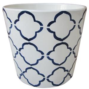 Vaso de Cerâmica Tiles Redondo Branco e Azul 13x13x11,50cm