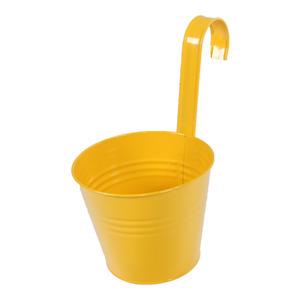 Vaso de Metal Varanda Redondo Amarelo 11,50x11,50x13,50cm
