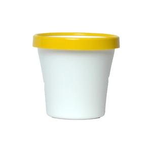 Vaso de Polipropileno Veneza Redondo Branco e Amarelo 12x12x10cm
