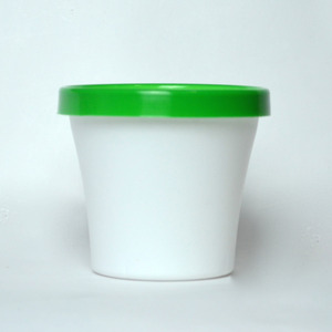 Vaso de Polipropileno Veneza Redondo Branco e Verde 12x12x10cm