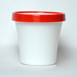 Vaso de Polipropileno Veneza Redondo Branco e Vermelho 16x16x13,50cm