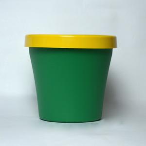 Vaso de Polipropileno Veneza Redondo Verde e Amarelo 12x12x10cm