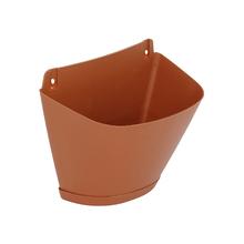 Vaso Plástico de Parede com Prato Terracota Pequeno