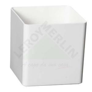 Vaso Resina Cubo 10x10cm Branco Vasart
