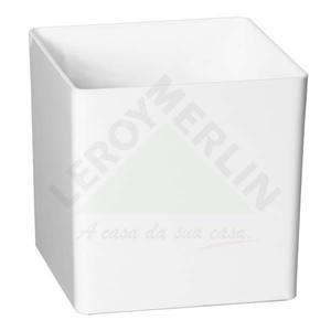 Vaso Resina Cubo 14x14cm Branco Vasart