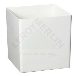 Vaso Resina Cubo 17x17cm Branco Vasart