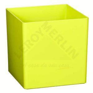 Vaso Resina Cubo 17x17cm Verde Vasart