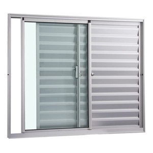 Veneziana Correr Aluminio Branco 3 Folhas S/Grade 100,00 X 150,00 X 8,10 Cm Exata Gravia