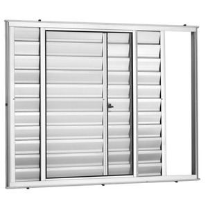 Veneziana Correr Aluminio Branco 3 Folhas S/Grade 100 X 150 X 8,00 Cm Marte Trifel