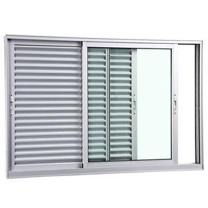 Veneziana Correr Aluminio Fosco 3 Folhas S/Grade 120,00 X 120,00 X 10,40 Cm Eterna Gravia