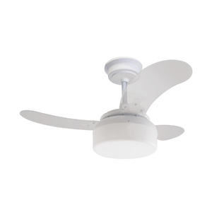 Ventilador de Teto Clear Fit Air Design 3 pás Cristal e Branco 220V