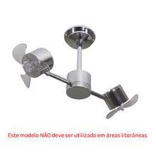 Ventilador de Teto sem Luminária 3 Pás Cromado Style Inspire Bivolt