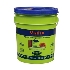 Viafix Líquido Branco Uso Emulsor Adesivo Densidade 1 a 1,03 G/ML Ph 4 a 5 Viscosidade 10 a 20 CPS Fornecimento Balde 18 kg Viapol